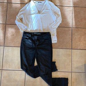 Old Navy rockstar mid rise jeans + Tahari top